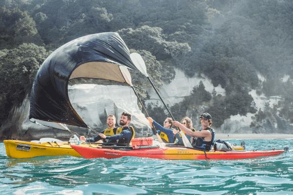 Kiwi Experience Kayaking APR 2015 Kaiteriteri South Island New Zealand NZ Fleaphotos Abel Tasman National Park Summer Water Sport Friends.jpg