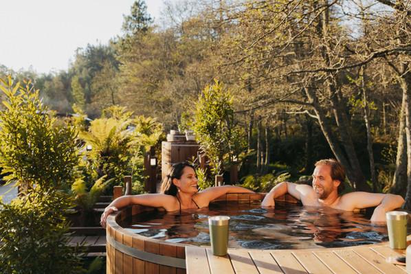 Couple in hot tub - Secret Spot Rotorua