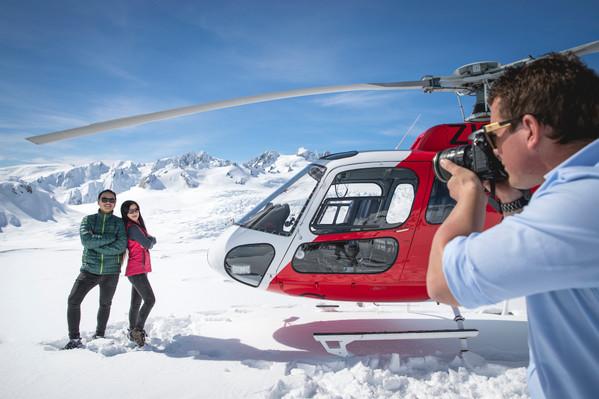 Glacier heli flight
