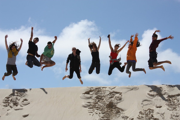 WWC, LAP & BES - Jump at Henty Dunes, Strahan.JPG