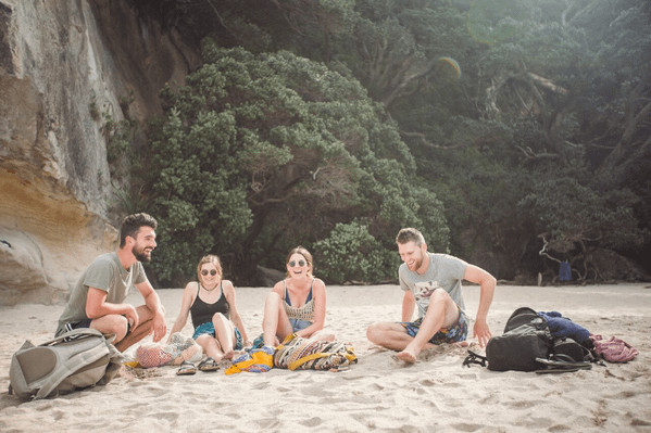 Kiwi Experience Chillin JAN 2015 Lake Pukaki South Island New Zealand NZ Fleaphotos Friends Bus Summer Laughter.JPG