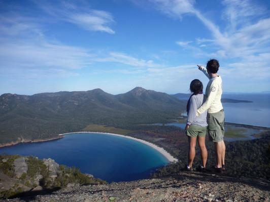Enjoying the view above Wineglass Bay.JPG